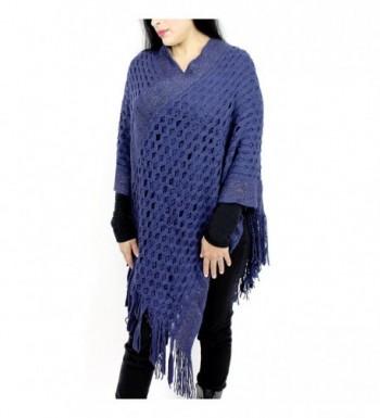 Streak Brilliance Crocheted Poncho V neck