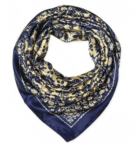 Women's Satin Square Silk Feeling Hair Scarf 35 x 35 inches 2018 New by corciova - 189 Navy and Banana Mania - CZ11JDFUXIT