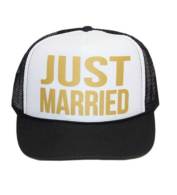 Classy Bride Just Married Trucker Hat - Black/White - CR17YD5THOQ