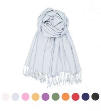 Stylish Silky Scarf Pashmina Solid Shawl Women love Fashion Wrap Silk Stole - Gray - CV1876W0LT8