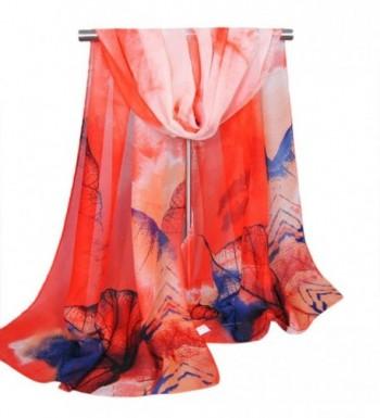 LEERYA Fashion New Lady Women's Long Soft Wrap Lady Shawl Silk Chiffon Scarf Scarves - Watermelon Red - CK12LW8BVIF