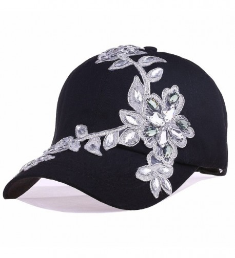 CRUOXIBB Women Cotton Cap Sequins Bling Rhinestone Lace Flower Fashion Baseball Hat - Black - CE183QXKTCY