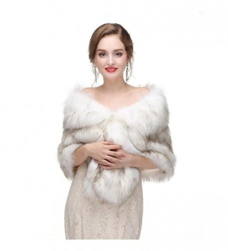 Limeng Women's Faux Fur Shawl Wraps Winter Stole Shrug for Bridal Ladies - CB1899L8NTX