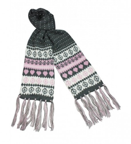 Love Peace Snow Dots Double Layer Knitted Acrylic Tassel Ends Long Scarf - Gray - CK11739LZEX