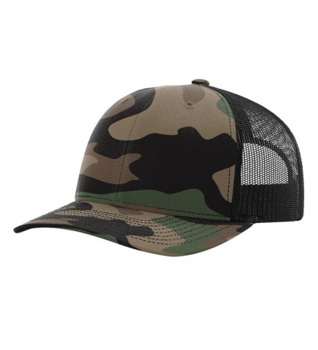 Richardson 112P Green Camo/Black Structured Snap Back Trucker Hat - CP185GURNZH