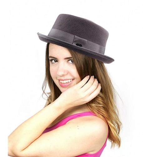 NYFASHION101 Women's Wool Felt Solid Color Band Accent Classic Porkpie Hat - Gray - C411UH9F56F