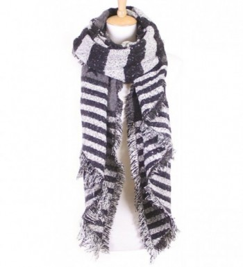 Funky Junque's Stars and Stripes USA American Flag Knit Oblong Wool Fringe Scarf - Black - CQ12MY6T8S7