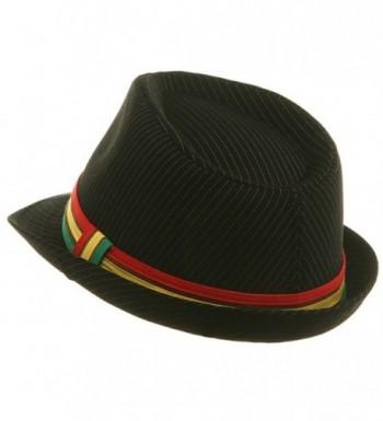 Pinstripe Rasta Fedora Hat Black