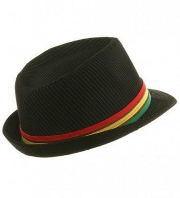 Pinstripe Rasta Fedora Hat Black in Men's Fedoras