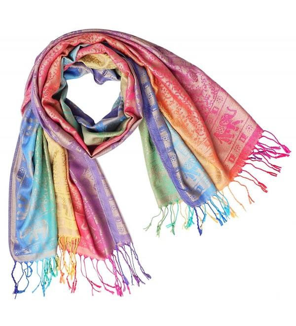 Bijoux De Ja Elephant Rainbow Soft Fringe Fashion Pashmina Pride Shawl Scarf Wrap - Rainbow 8 - CE188DSMD6T