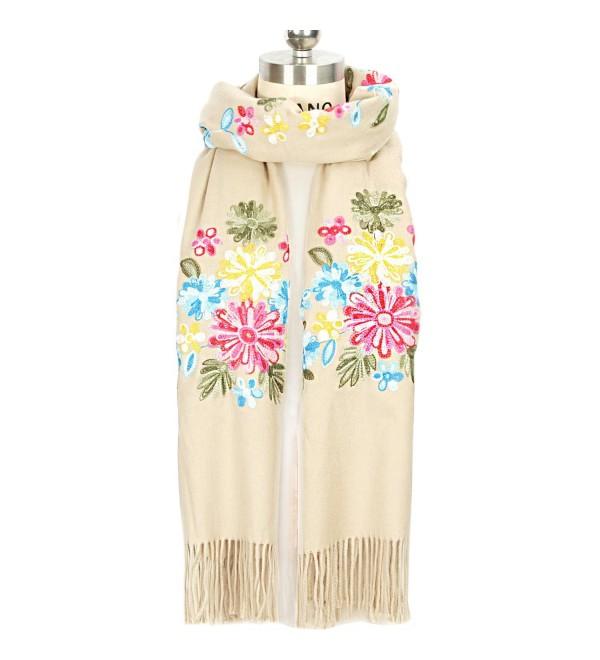 LOUISE&FIONA Women Scarves Floral Embroidery Tassels Cashmere Feel Scarf Wrap Shawl - Beige - CJ187EU20OY