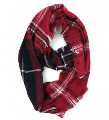 Plum Feathers Premium Plaid Print Infinity Scarf - Red-black-white - C5188UK2DHS