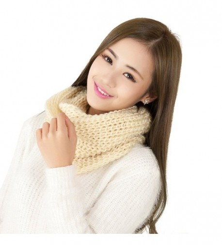 BININBOX Women's New Korean Style Soft Warm Infinity Circle Scarf - Beige - CJ11PPLFSZX