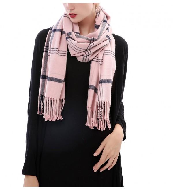 Aolige Super Soft Cashmere Blanket Winter Scarf Classic Lattice Warm Shawl for Women - Pink - CW186C6QU66