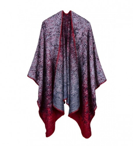 VamJump Women Winter Knitted Cashmere Poncho Capes Shawl Cardigans Sweater Coat - Ruby-0755 - CO186UY95WD