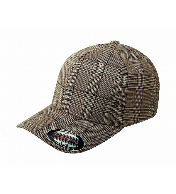 Flexfit Glen Check Plaid Hat Baseball Cap Fitted 6196 Large/Xlarge - Brown / Khaki - CX117X2FOU1