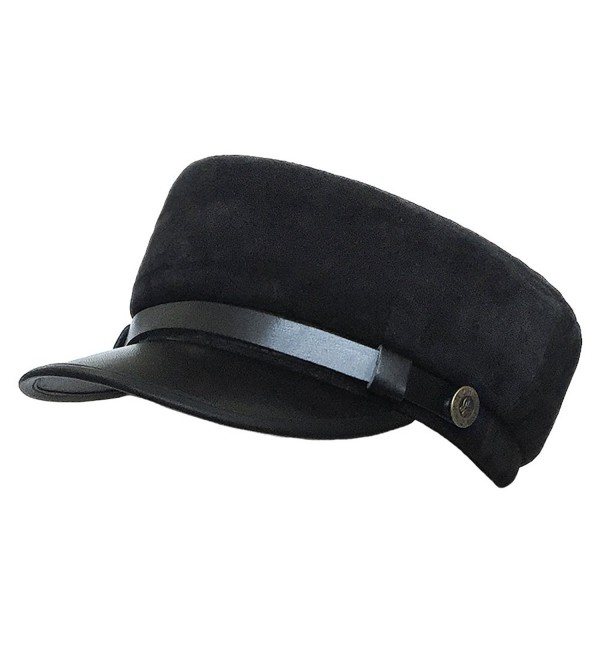 Military Cadet Hat Unisex Genuine Leather Army Camo Hats Costume Suede  Black CM127CLZ0SD