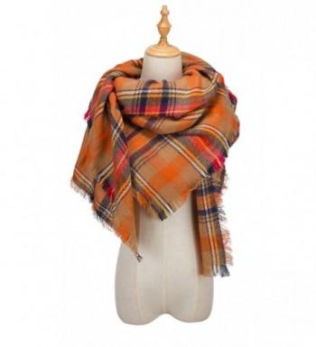 QIXING Women's Tassels Soft Plaid Tartan Scarf Winter Large Blanket Wrap Shawl - 08-orange - C71862H4HCU