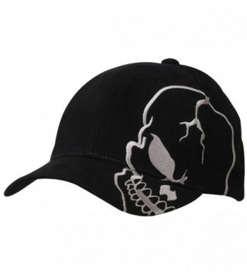 Skull Skeleton Cotton Adjustable Baseball Cap - Black/Grey - CC110H0B9MX