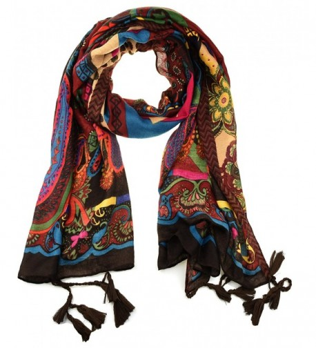 NKTM Twill Cotton Pashmina Shawl Wrap Paisley Pattern Scarf Womens Elephant Print Scarf - Type1 Red - CC12MAG9GJ9