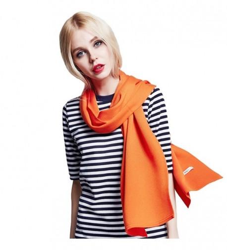 MUNI Winter Cashmere Wool Women Scarf Warm Fashionable Solid Shawl- in an Elegant Gift Envelope Box - Orange - CE12N4X7K01
