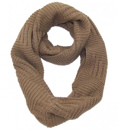 Best Winter Hats Solid Color Garter&Broken Rib Stitch Knit Infinity Scarf (One Size) - Brown - C411QDRQTMJ