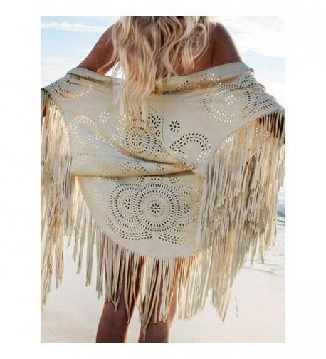 Frenshion Women's Faux Suede Shawl Asymmetric Fringed Cape Kimono Blouse with Tassel - Cream - CI12MA7I9EW