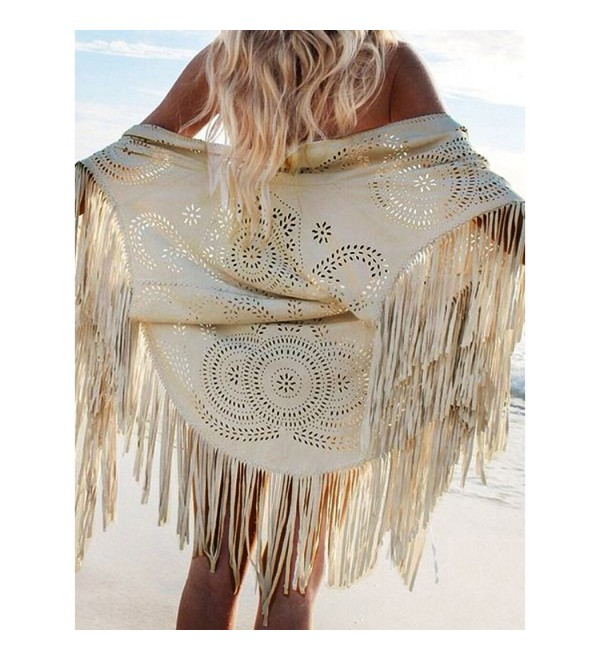 9eb9b5181 Frenshion Women's Faux Suede Shawl Asymmetric Fringed Cape Kimono Blouse  with Tassel - Cream - CI12MA7I9EW