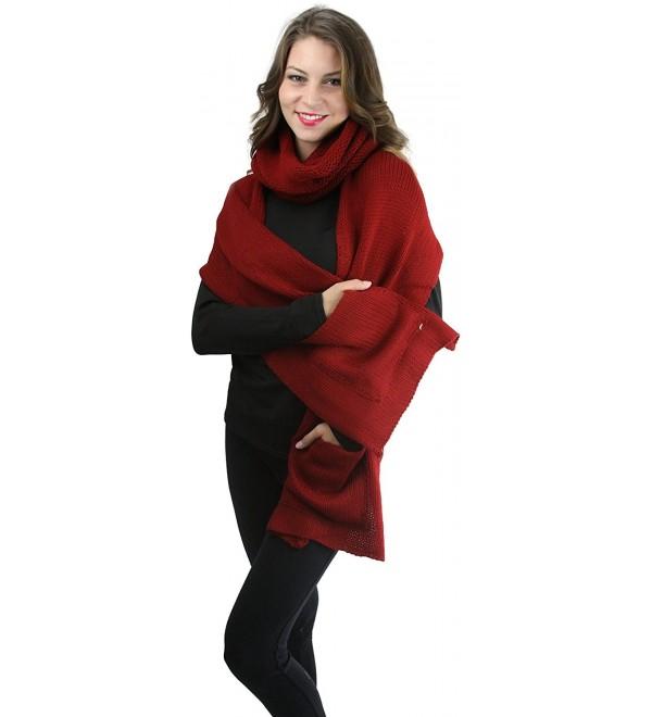 ToBeInStyle Women's Two Part Knit Infinity Pocket Snood Scarf - Khaki - CF12NTIIRCG