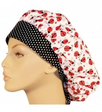 Designer Bouffant Medical Scrub Cap - Lady Bugs & Hearts - C112ODXP6IY