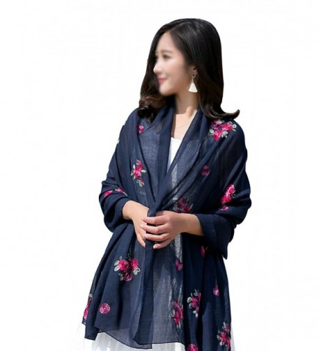 Women Exotic Style Floral Embroidery Silk Scarf Cotton Linen Pashmina Shawl Wrap Scarves - Dark Blue - CT184WIUAT5