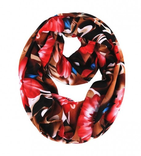 Ladies Sheer Soft and Light Weight Woven Endless Infinity Loop Circle Scarf - Red Floral - CR12M9LLLAV