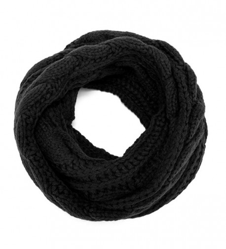 ALLMILL Womens Thick Ribbed Knit Winter Infinity Circle Loop Scarf - Black - C412K5BP1ZJ