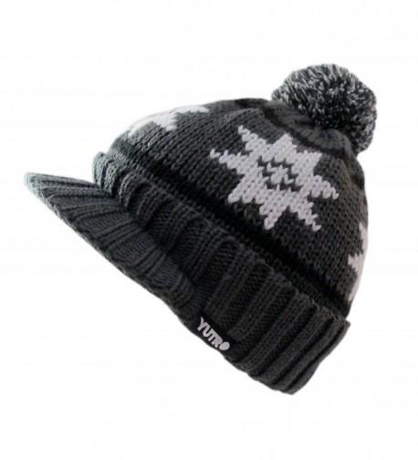 ab6f2a56 YUTRO Winter Wool Knitted Visor Ski Beanie Hat for Men/Women One Size - Gray