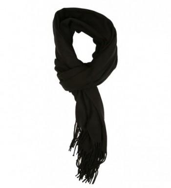 LibbySue-Cashmere Feel Solid Color Wrap- Shawl Pashmina - Black - CF11HQ1FVMF
