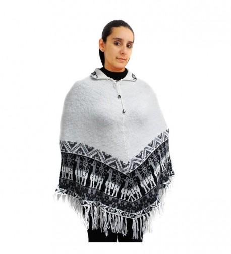 CELITAS DESIGN Poncho Pashmina Wraps crew neck alpaca wool blend made in Peru - White - CP12N3Z99BG