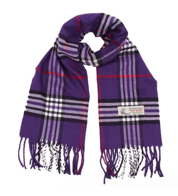 Plaid Cashmere Feel Classic Soft Luxurious Winter Scarf For Men Women - Purple - C418827YT5Z