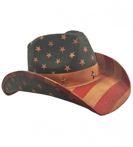 American Flag Vintage Cowboy Hat - Red White Blue - CT11ZH631CX
