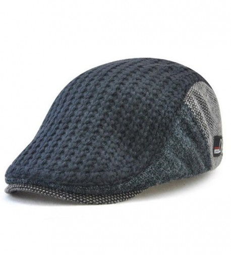 GESDY Men's Wool Knitted newsboy duckbill Warm Cap IVY Cabbie Drving Hat - Dark Blue - CW187K7696I