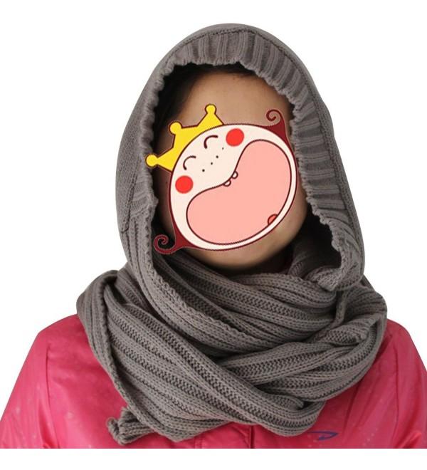 eYourlife2012 Winter Unsex Women's Knitted Hat Set 2in1 Wrap Scarf Outdoor Warm - Gray - CM11HI5S6DZ
