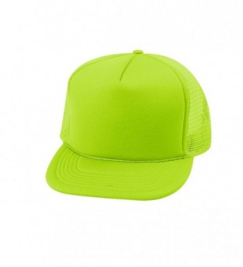 EnimayUnisex Men's Women's Solid & Two-Tone Mesh Baseball Style Trucker Hat - Solid Neon Green - C1122TIL88F