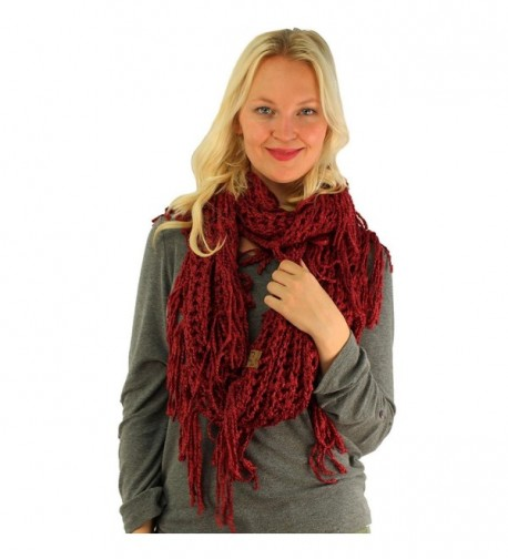 Winter CC Soft Chenille Net Tassle Fringe Thick Knit Infinity Scarf Wrap - Burgundy - CO187GEO3N2