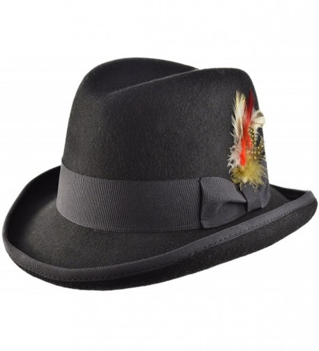 Black Wool Felt Classic Homburg Godfather / Churchill Hat in 4 Sizes - CL1855I7UTL
