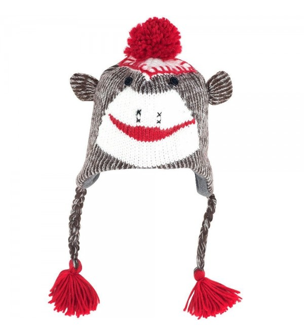 TG Adult Size Sock Monkey Knit Hat with Poly-Fleece Lining - CO115H64H9J