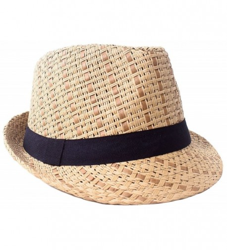 D Diana Dickson Men/Women's Summer 2 Tone Colored Straw Fedora Hat - Brown/Black - C11808IM6TG