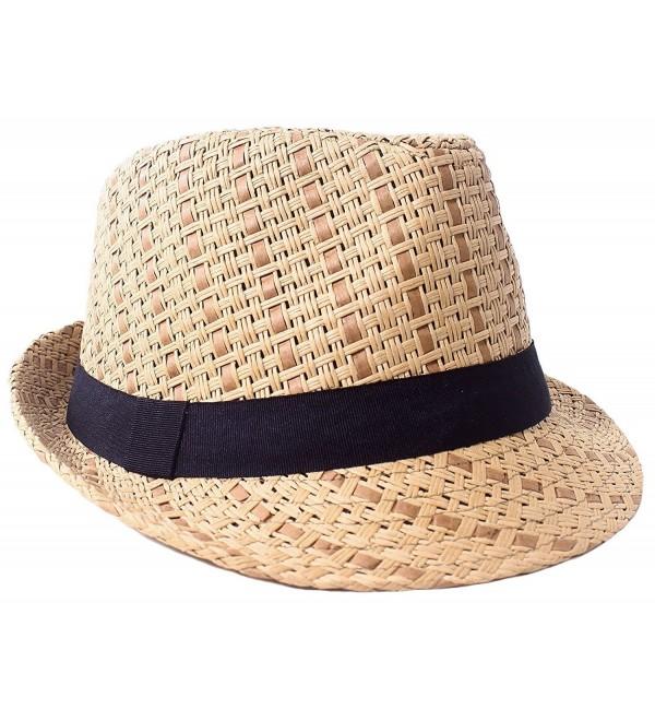 05dfe55fa Men/Women's Summer 2 Tone Colored Straw Fedora Hat Brown/Black C11808IM6TG