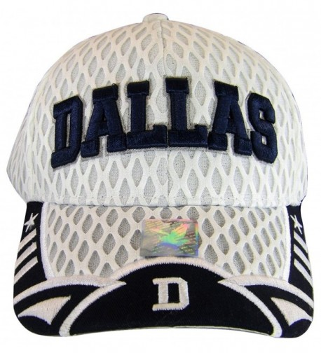 Dallas Texas Script & Stars Summer Mesh Adjustable Baseball Caps - White/Navy Script - CR184MW7H66