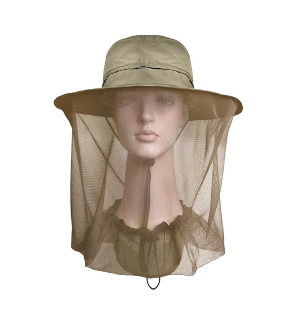 Lenikis Outdoor Sun Protection Hats With Mosquito Head Net - khaki - CA12GALFTH7
