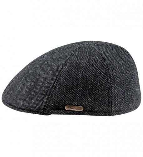 Warm Wool Blend Petersham Duckbill 6 Panel Flat Cap - Dark Grey - CZ11PAJRAY5