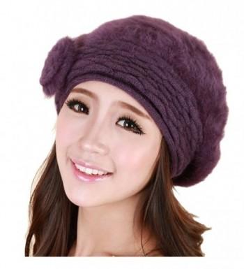 Women Winter Warm Soft Beanie Protective Ear Angora Knit Beret Hat Cap Purple - CQ129B449CR